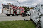 car crash with firetruck